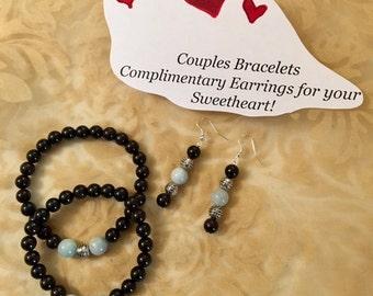 USA FREE SHIPPING-Couples' Bracelets Genuine Gemstones