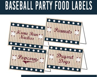 PRINTABLE Baseball Birthday Party Food Label Tents, Vintage Baseball Birthday Party, Retro Baseball, Baseball Food Table, Baseball Decor