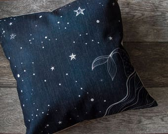Mermaid Pillow Cover, Starry Night Pillow Cover, Navy Pillow Cover, Throw Pillow, Cushion Cover, Decorative Pillow Cover, Cushion Cover