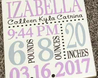 Birth stats sign, baby name sign, nursery decor, modern nursery, baby stats, baby announcement