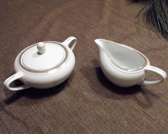 Vintage Royalton China Co. Translucent Porcelain *-* GOLDEN ELEGANCE *-* Sugar Bowl & Creamer