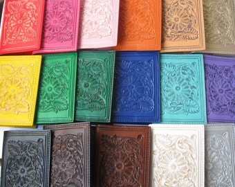Passport Holder/Passport Cover/Leather Passport/Hand Tooled/Tooled Leather Bag/Mexican Gifts/Carved Leather/Leather Cover/Rojo Turquesa