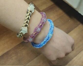 Rainbow Loom Bracelets w/Glow in the Dark Stones/Beads