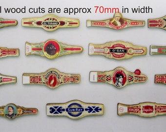 15 X Stylised Cigar Labels (On Wood)
