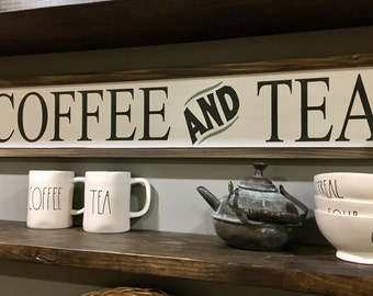 Coffee and Tea Sign / Coffee Bar Signs / Kitchen Signs / Tea Signs / Framed Wood Signs / Coffee Bar / Farmhouse Signs / Fixer Upper