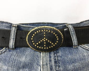 PEACE SIGN / Magnetized Belt Buckle with Gold Metal Trim and Studded Peace Symbol on Black / Swinging Loop Buckle / 80s Vintage Belt Buckle