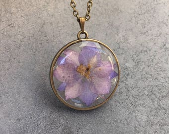 Shades of Purple Larkspur in slim Antique Bronze Open Back Bezel Resin Pendant, Resin Necklace, Pressed Flower Jewelry, Resin Jewelry