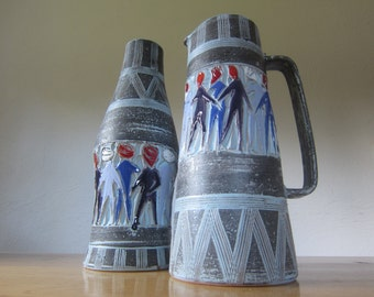 Fratelli Fanciullacci italy 60s art pottery vase + jar with sgraffito decoration