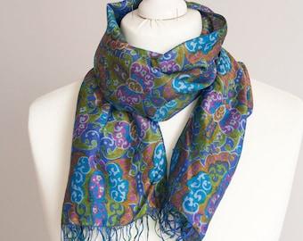 """vintage long scarf, oriental scarf, rectangle scarf, polyester scarf, women scarf shawl 32x122cm / 12x48"""" summer scarf blue orange"""