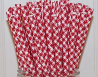 Paper Straws, Red Gingham Paper Straws, Can Cooler Straws, I DO BBQ Wedding Straws, Party Paper Straws, Rustic Weddings, Mason Jar Straws