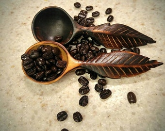 Hand Carved Feather Coffee Scoop