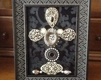 Cross on Damask Black