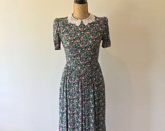 Lace Collared Green & Pink Floral 80's 90's Party Dress