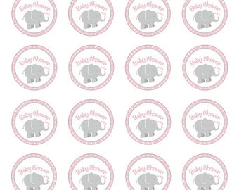 24 x Elephant baby shower cupcake toppers blue,pink yellow turquoise
