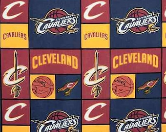 """NBA Fabric, Basketball Fabric: NBA Sports Broadcloth - Cleveland Cavaliers Patch by Camelot 100% cotton Fabric by the yard 36""""x44""""  (CA36)"""