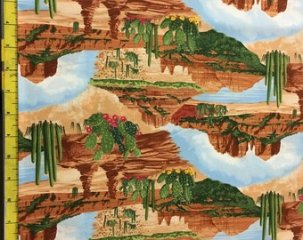 """NEW Timeless Treasures SOUTHWEST SEDONA Scenic - Cactus, oasis, desert 100% cotton Fabric by the yard 36""""x44"""" (G367)"""