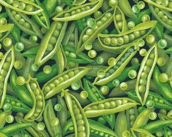 "Fruit Fabric, Peas Fabric: New Fabri-quilt Farmer John's Garden Party Peas 100% cotton fabric by the yard 36""x43"" (E240)"