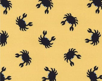 """New Crabs Fabric: Crabs on Yellow by Dear Stella JL23  100% cotton fabric by the yard 36""""x43"""" (TT37)"""