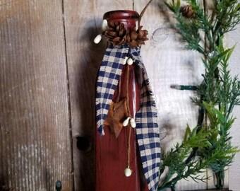 Primitive Vase, Brick Red, Country Decor, Vase