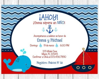 Ahoy It's a Boy Whale Baby Shower Spanish Invitation, Nautical Invitation, Baby Boy Invitation, Whale Invitation, Spanish Invite, Printable