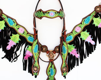 Lime Green Purple & Pink Hand Painted Floral Fringe Bling Western Leather Cowboy Show Horse Bridle Headstall Breast Collar Tack Set