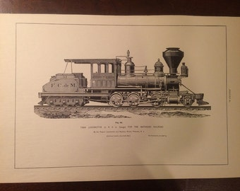Antique Steam Locomotive Plate Print - Matanzas Railroad