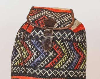 Kilim backpack Kilim bag backpack boho Leatherbag leather leather bag leather backpack multi Coulour