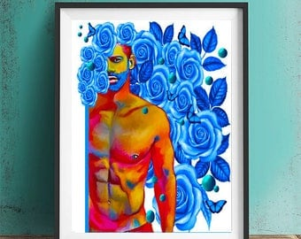 blue roses.Spring painting floral art, male figure, fit man blue butterfly homoerotic giclée print