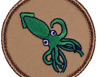 Green Squid Patch (487) 2 Inch Diameter Embroidered Patch