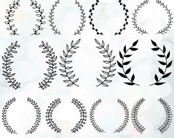 Vintage laurel wreath clipart -  Laurel Wreaths SVG - Wedding Wreath Clipart - Wedding Invitation Clipart -  svg, dxf, eps, pdf files