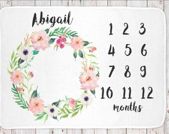 Personalized monthly milestone baby blanket, girls floral print (BB107)