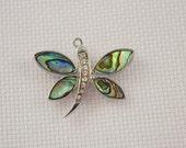 Abalone Shell and Rhinestone Dragonfly Needleminder / Dragonfly Needleminder /  Shell Needleminder