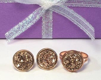 Bridesmaid Gift - Rose Gold Druzy Earrings and Ring - Drusy - Flower Girl Gift - Bridal Jewelry - Adjustable Ring - Maid of Honor - Earrings