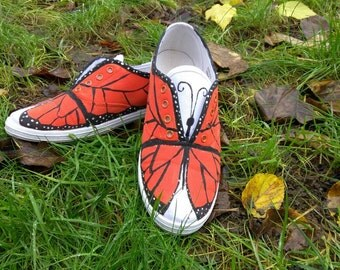 Hand painted butterfly shoes