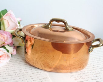 Vintage French Small Oval Copper Pot - Made in France