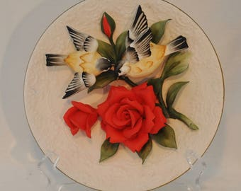 Capodimonte Three Dimensional Bisque Plate Featuring Red Roses of Passion and Yellow Finches Franklin Mint Limited Edition Numbered MA1131