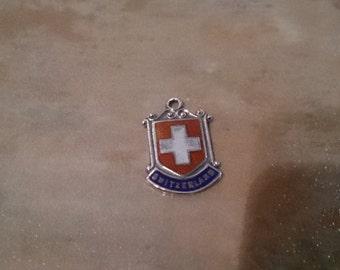 Vintage enamel Heraldic Shield Charm, Switzerland