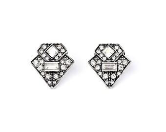 Art Deco Geometric Silver Crystal Stud Earrings
