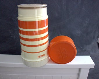 Vintage orange striped Thermos in great condition, retro Thermos, large vintage Thermos perfect for camping