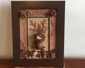 Baby Acorn framed nursery decor, baby boy or girl gift idea