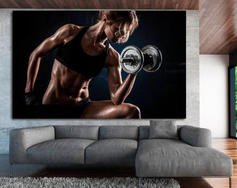 Extra large black gym wall art print, fitness motivation wall art gym poster canvas set, home gym decor motivational poster canvas print set