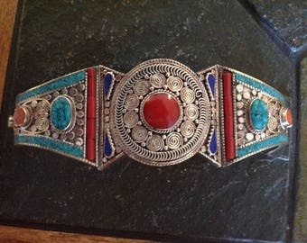 Beautiful Lapis Lazui Red Coral  Torquoise Silver Cuff Bracelet One of a kind