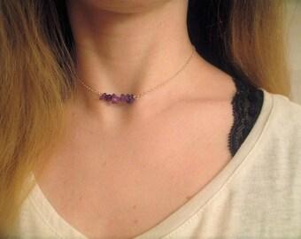 Amethyst chip choker necklace- amethyst necklace, amethyst choker, gemstone necklace, gemstone choker, purple beaded choker necklace