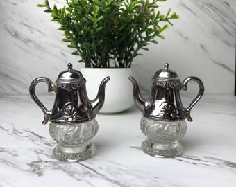 Teapot salt and pepper shaker, vintage silver plate teapot salt and pepper shaker, tea party decor