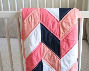 Amelia Quilt - Herringbone Quilt - Coral Quilt - Navy Quilt - Baby Quilt - Baby Herringbone Quilt - Pink Quilt