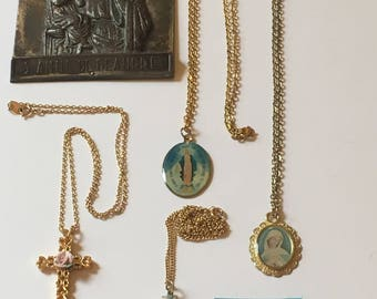 Vintage Religious Jewelry Lot (5) Necklace Medal St. Anne Flower Catholic Religious Spiritual Cross