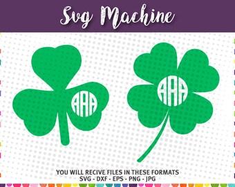 St. Patrick's Day Shamrock SVG - Clover SVG - Shamrock SVG - Monogram Frames - instant download - cut file -  Silhouette