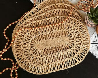 Set of 4 Wicker Placemats / Twine Placemats / Rustic Tableware / Bohemian Home