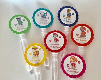 Paw Patrol Birthday party favors Bubbles BUBBLE WANDS set of 12