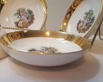 ON SALE, Crest O Gold, Sabin Porcelain, 22K Bowls, Colonial Porcelain, Sabin Bowls, Gold Sabin, Sabin Plates, Gold Plated Bowls, small bowls